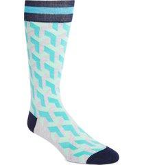 men's fun socks geo pattern socks, size one size - grey