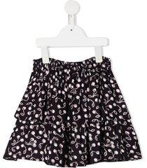bonpoint teen cherry-print ruffled skirt - blue