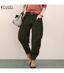 zanzea mujeres de cintura alta pantalones ocasionales flojos de pierna ancha de la linterna trouses plus -verde