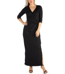 24seven comfort apparel women's ankle length side slit formal maxi dress