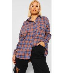 petite geruite oversized blouse, geelbruin