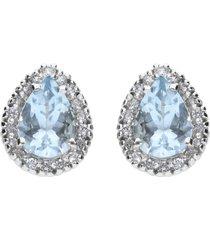 orecchini in oro bianco, con acquamarina 1,00 ct e diamanti 0,18 ct per donna