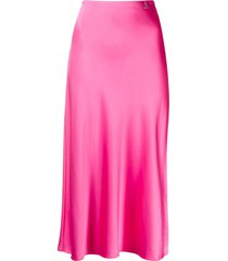 patrizia pepe logo-charm midi skirt - pink
