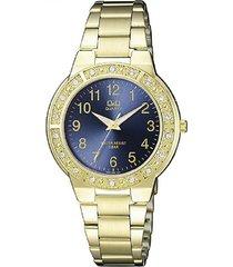 reloj q&q q901j005y analogo dorado para mujer