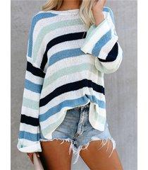 suéter de manga larga con cuello redondo de rayas casual cuello