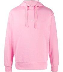 a.p.c. long sleeve printed logo hoodie - pink