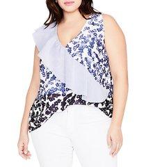 plus floral-print sleeveless top