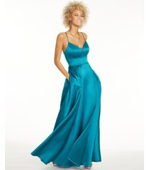 city studios juniors' stretch satin faux-wrap gown
