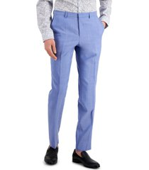 hugo men's chambray blue solid modern-fit wool suit separate pants