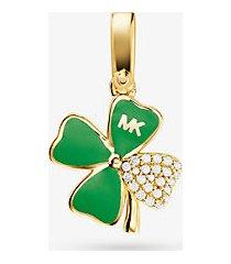 mk ciondolo a forma di quadrifoglio in argento sterling placcato oro 14k con pavé - oro (oro) - michael kors