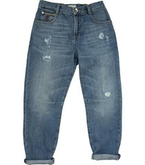 brunello cucinelli five-pocket trousers in lightweight comfort cotton denim with rip details