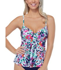 island escape sunny days printed underwire tankini top, created for macy's women's swimsuit