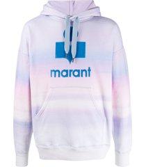isabel marant miley logo-print hoodie - purple