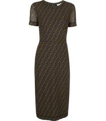 fendi ff motif mid-length dress - brown