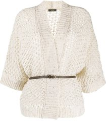 peserico belted open-knit cardigan - neutrals