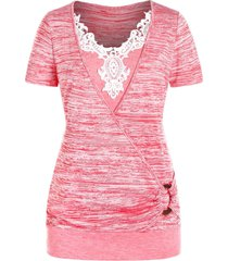 plus size lace applique o ring marled t shirt
