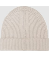reiss cassius - cashmere ribbed beanie in ice grey, mens
