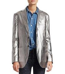 metallic boyfriend blazer
