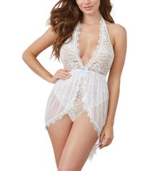 dreamgirl women's halter plunge lace teddy 2pc lingerie set