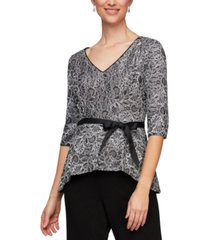 alex evenings tie-belt lace peplum top