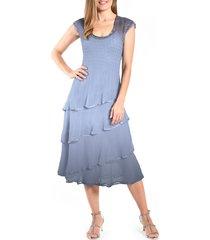 women's komarov tiered chiffon midi dress, size large - blue