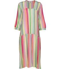 linen stripe dippa jurk knielengte multi/patroon mads nørgaard