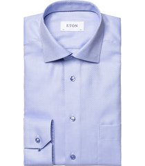 eton overhemd classic fit blauw structuur