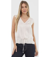 regata banana republic soft satin ruffle off-white - kanui