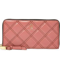 marc jacobs quilted softshot wallet - pink