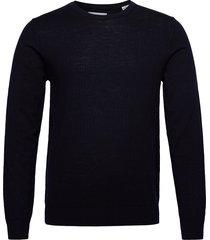 jjemark merino knit crew neck noos stickad tröja m. rund krage blå jack & j s