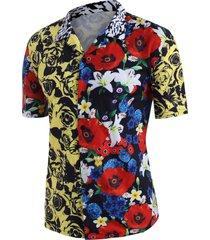 contrast rose flower print beach shirt