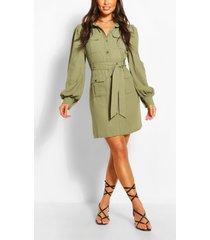 blouse jurk met utility zakken, kaki