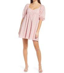 women's wayf ripton puff sleeve babydoll dress, size small - pink
