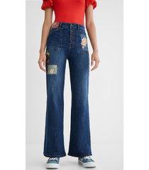 wide leg jeans patch - blue - 38