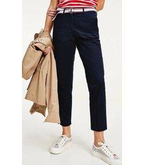 pantalón de tencel y algodón teñido en prenda azul tommy hilfiger