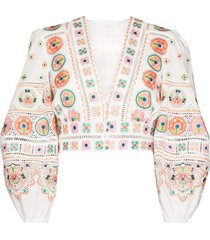 brighton embroidered cropped top