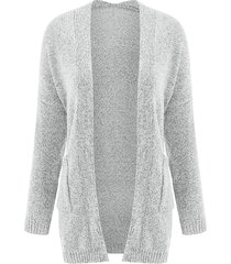 stylish gray collarless long sleeve pocket design cardigan for women