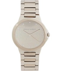 rebecca minkoff women's cali soft beige-tone stainless steel bracelet watch 34mm