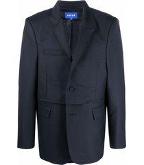 ader error panelled boxy blazer - blue