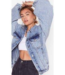 womens volume real high balloon sleeve denim jacket - blue