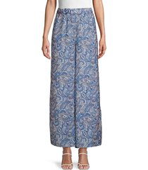 ava & aiden women's paisely palazzo pants - navy - size s