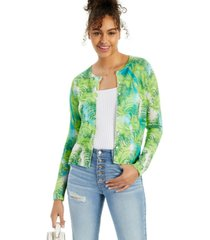 cashmere tropical print long-sleeve cardigan, created for macy's