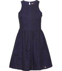 eloise schiffli racer dress knälång klänning blå superdry