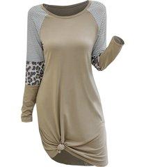 casual stripes leopard panel tee dress