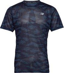 printed impact run ss t-shirts short-sleeved blå new balance