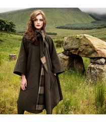 green pure wool country walking cape