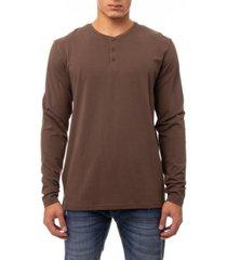 men's soft stretch henley neck long sleeve t-shirt