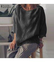 zanzea para mujer cuello redondo de manga larga tops casuales holgados camisas blusas solid -negro