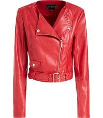 chaqueta ls renna cropped moto rojo guess