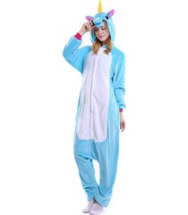 pijama diluxo macacão unicórnio azul
